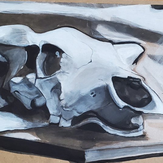 Acrylic Painting: Cow Skull