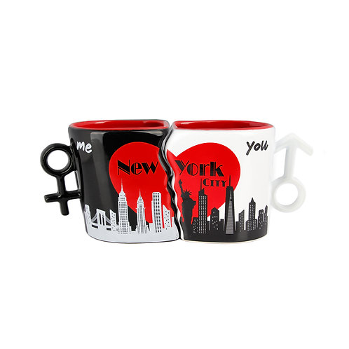 COUPLE MUG MALE/FEMALE - NY SKYLINE RED