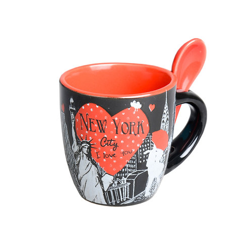 MINI MUG - NYC KISS BLACK/RED