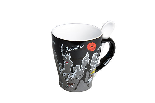 MUG SPOON - NYC SHOPPING BLACK WHITE
