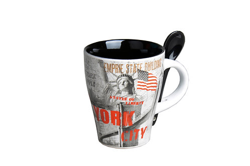 MUG SPOON - NYC RETRO WHITE BLACK
