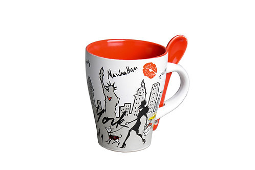 MUG SPOON - NYC LOVE WHITE RED