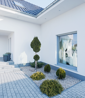 Designed home courtyard