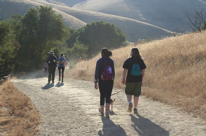 Hiking project members finishing the last stretch of this four mile hike.