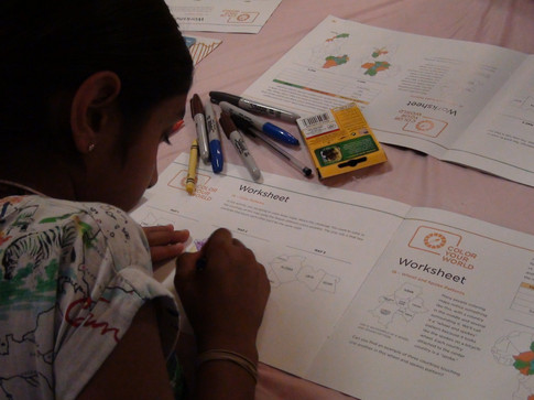 A 4-H member working hard at her National Youth Science Day packet.
