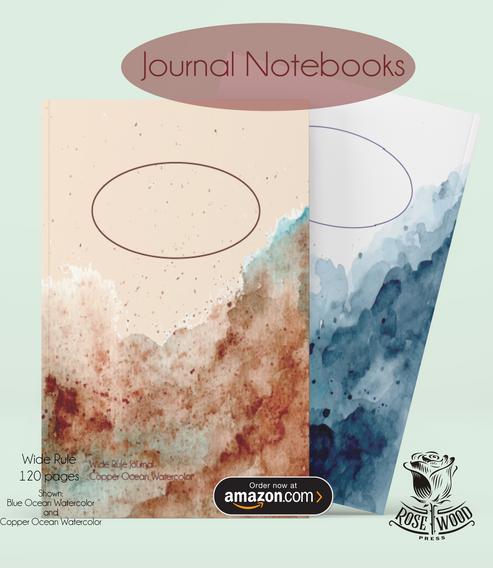 Copper and Blue Ocean Watercolor
