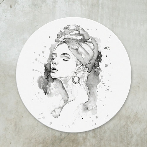 Watercolour woman black | Deco circle