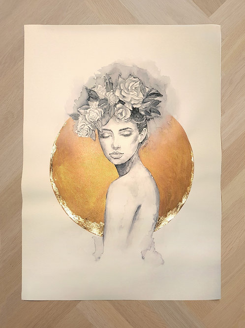 Katoendoek 50x 70| Woman flowerhat gold circle with gold leaf moon