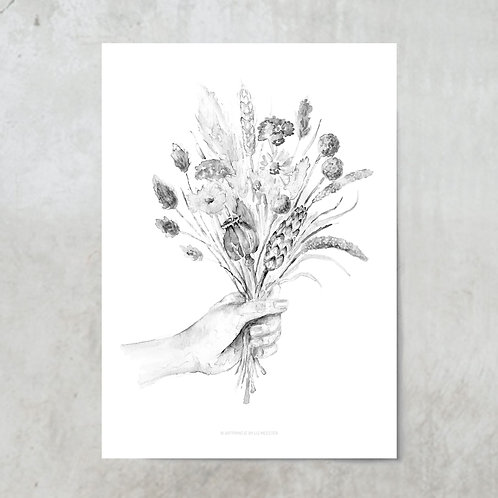 Dried flower bouquet | Black and white