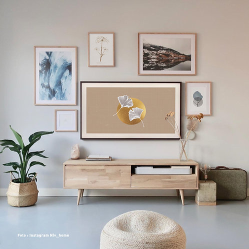 Ginkgo Taupe white | Frame TV -  digitale afbeelding
