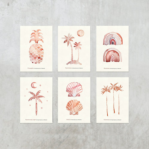 Tropical cards  | 6 stuks