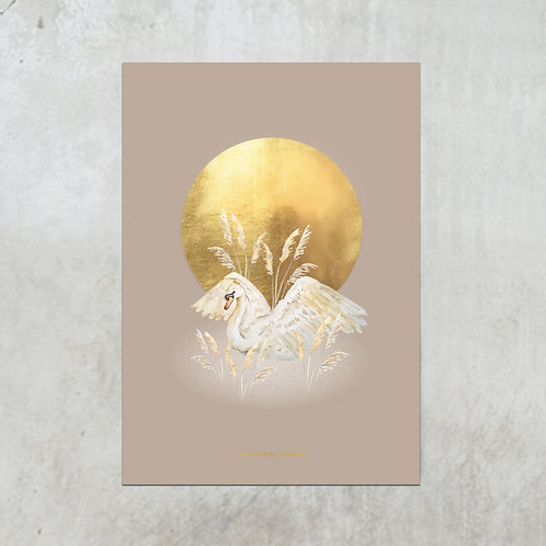 Swan cane Mauve | Gold foil A5