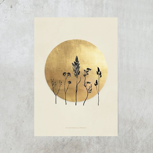 Dried flowers beige | Gold foil A5
