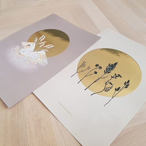 1 poster, 2 sided printed | Gold foil A3