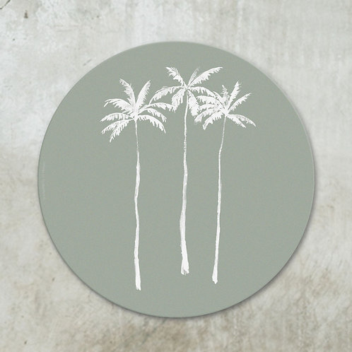 Palmtrees white on green | Deco circle