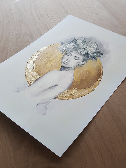 Woman flower hat gold circle with gold leaf moon