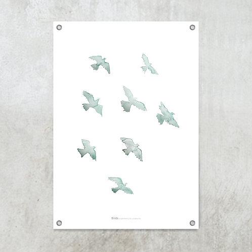 Kopie van Birds black | Tuinposter 70x100cm