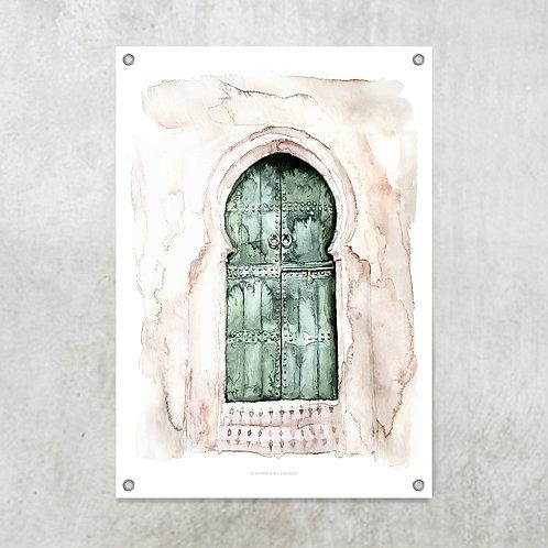 Marrakech doors green   Tuinposter 70x100cm