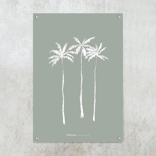 Palmtrees green-grey | Tuinposter