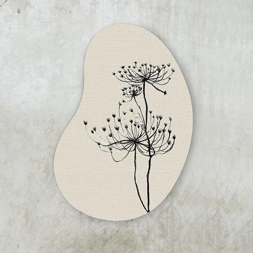 Black hogweed beige shape   60 x 80 cm