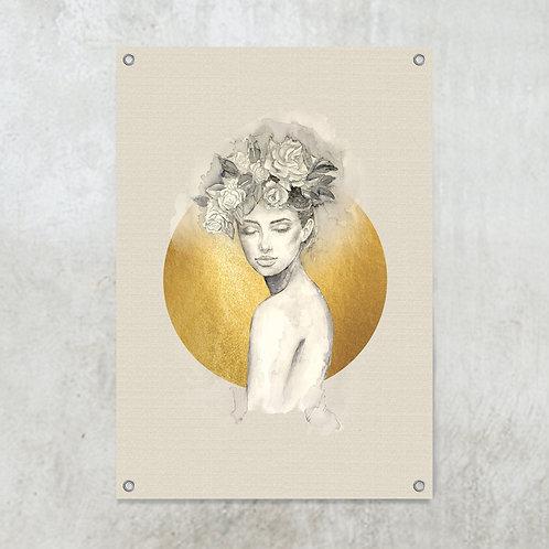 Woman golden circle  | Tuinposter