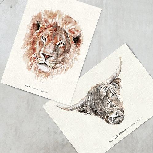 Lion & Scottish highlander | Kaart formaat