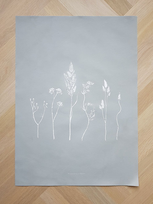 Canvas | Dried flowers | Blue grey