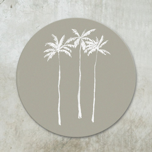 Palmtrees white on taupe | Deco circle