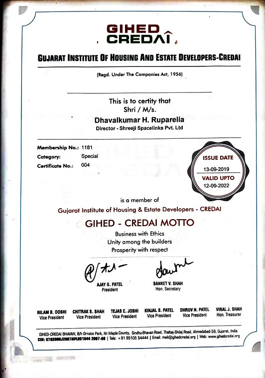 This is a photo of GIHED CREDAI certificate.