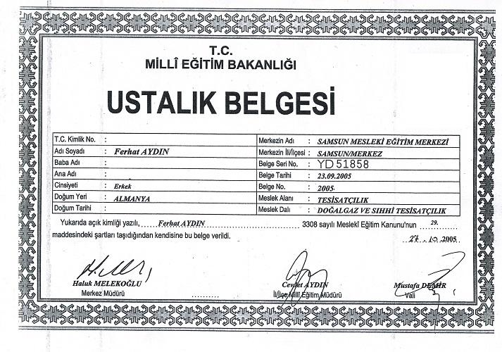 M.E.B. USTALIK BELGESİ