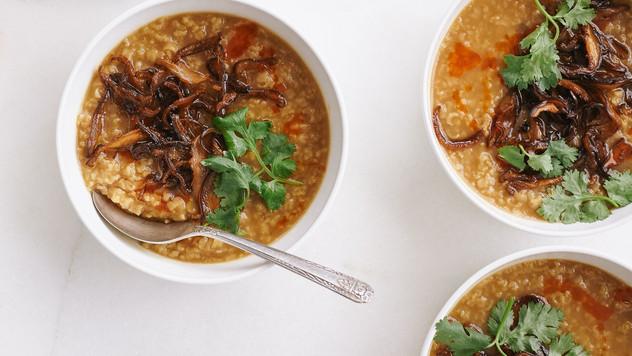Turkey Congee with Crispy Shiitake Mushr