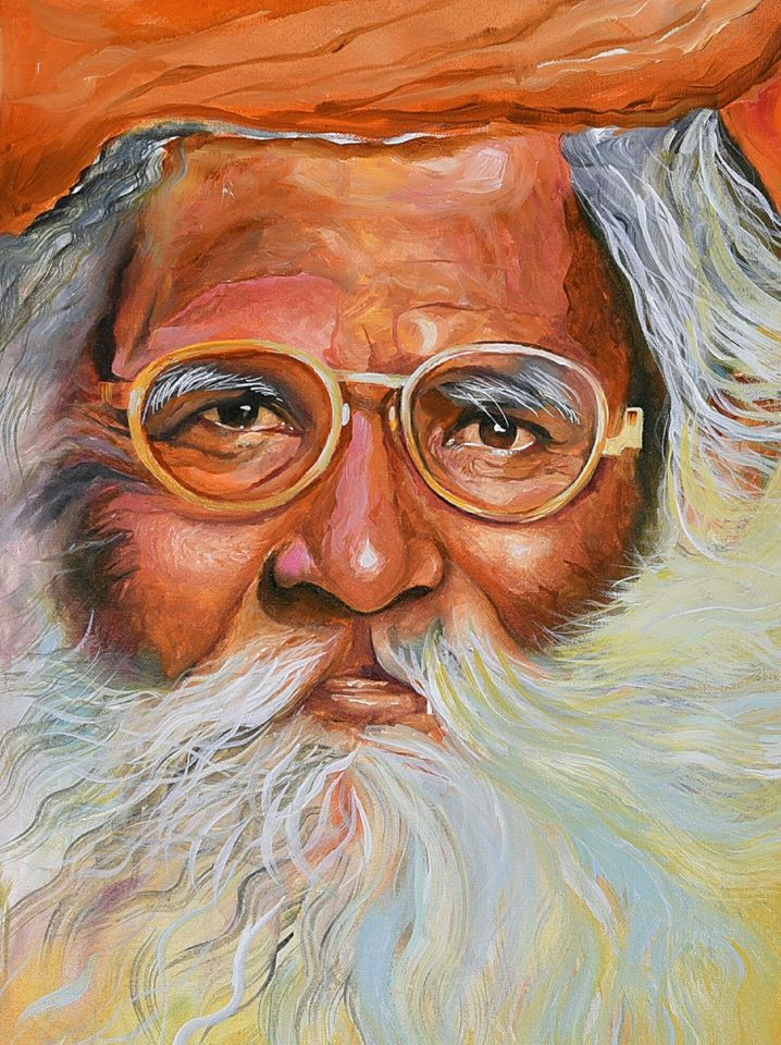 Old man painting color