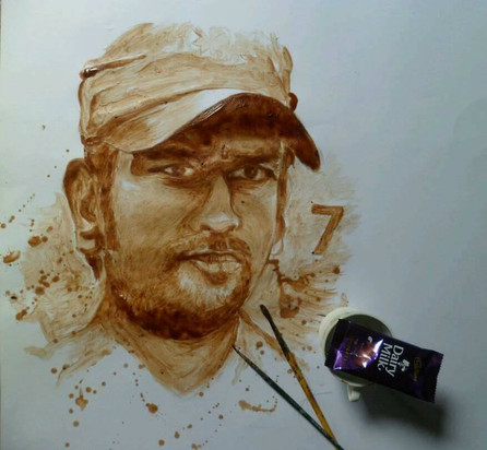 MS Dhoni Chocolate Painting