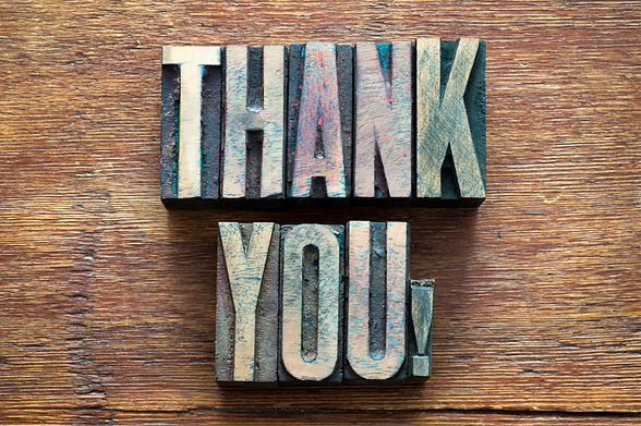 Thank You spelled out in wooden letters