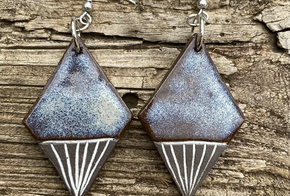 Large Mountain Frost Carved Earrings