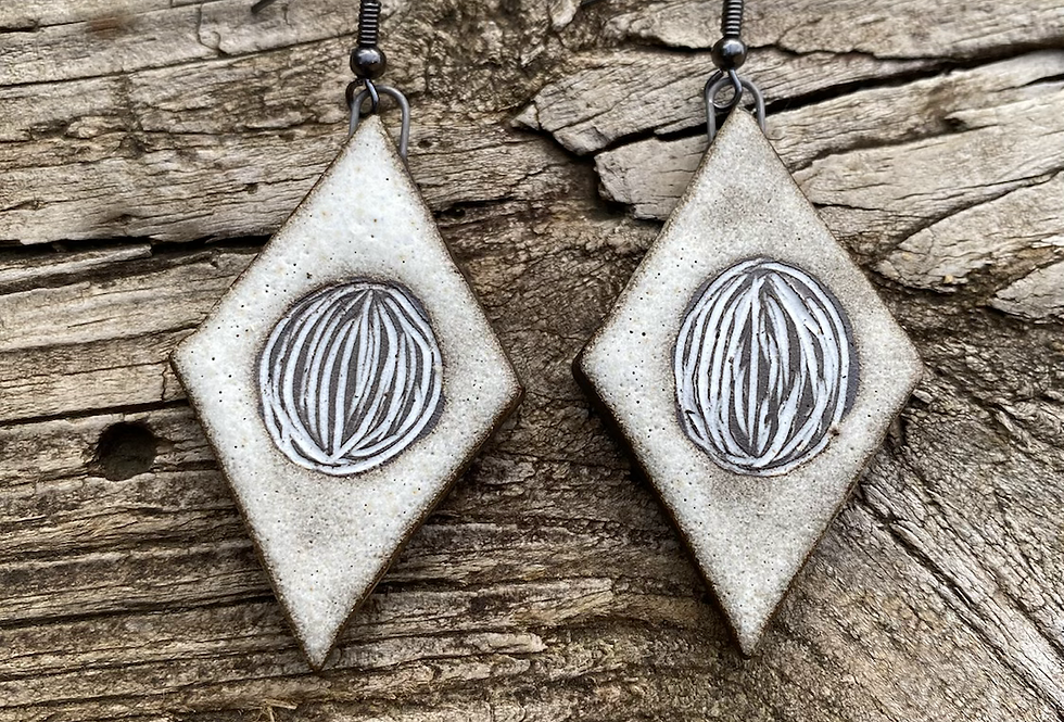 Large Matte White Carved Earrings
