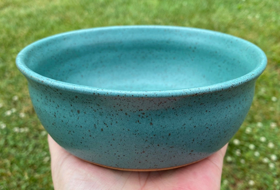 Speckled turquoise flat-bottom bowl