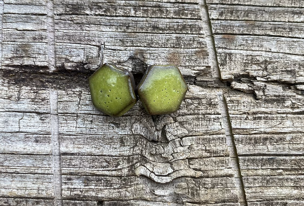 Chartreuse Hex Stud Earrings