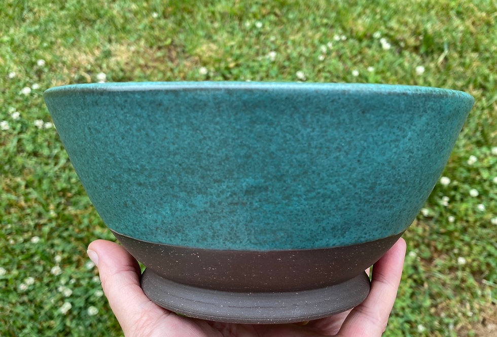 Brown clay and Turquoise serving bowl