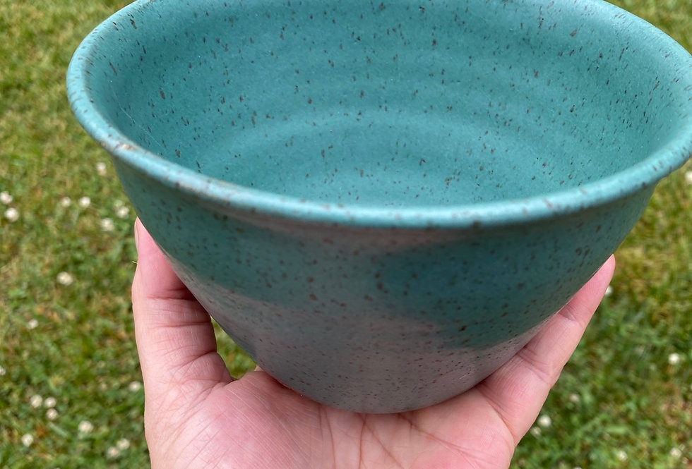 Serving bowl-speckled turquoise