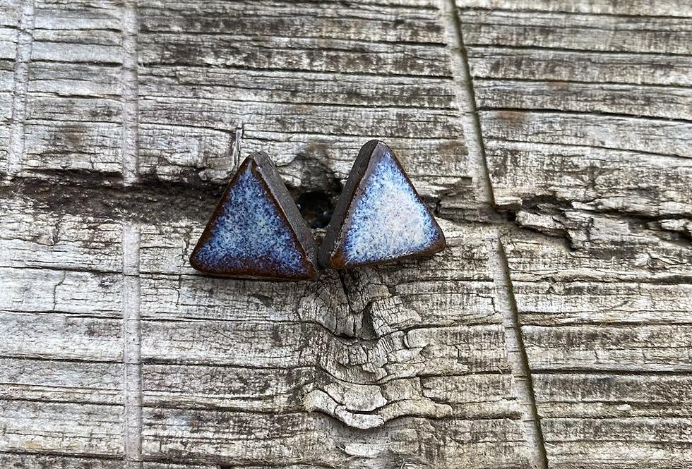 Mountain Frost Triangle Stud Earrings