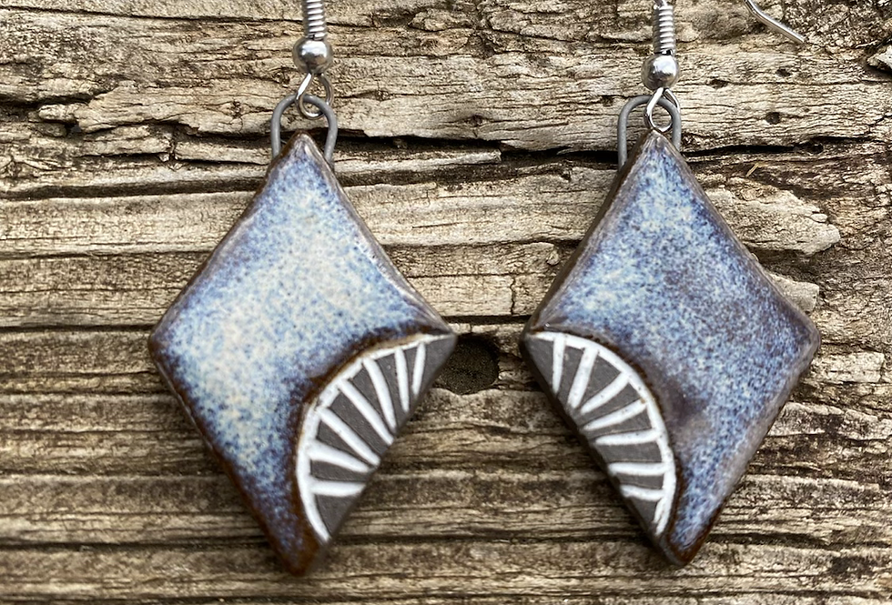 Mountain Frost Carved Earrings #2