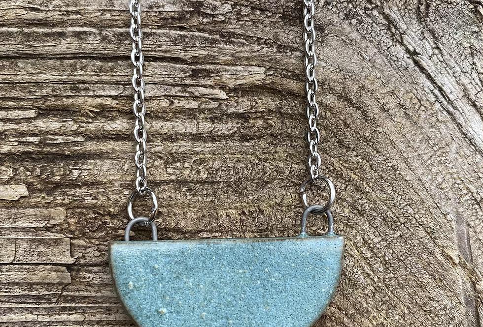 Matte Turquoise Half Moon Necklace