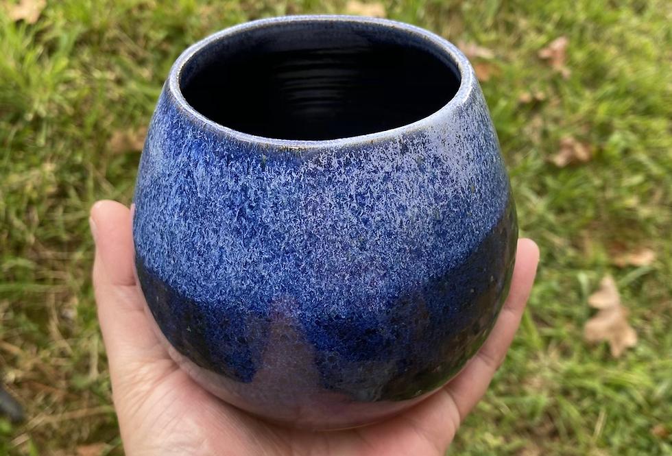 Sapphire and white Bud Vase
