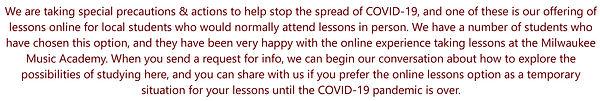 Milwaukee Music Academy responds to COVI