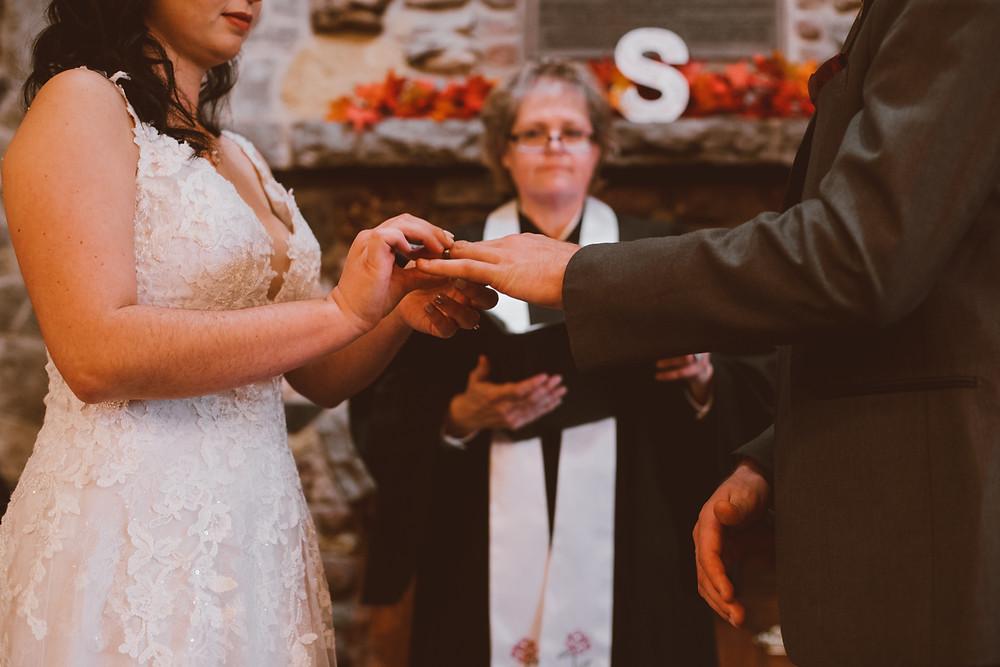 Rainy, romantic fall wedding at Pamperin Park in Green Bay, WI.