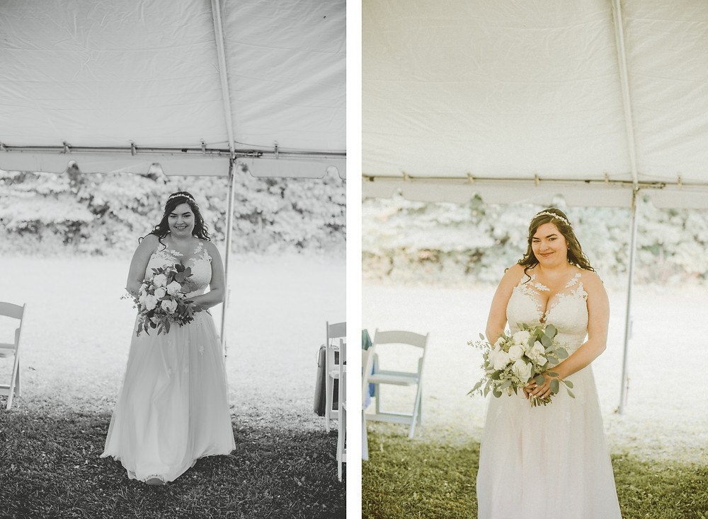 Romantic, rainy wedding day at Pamperin Park in Green Bay, WI.