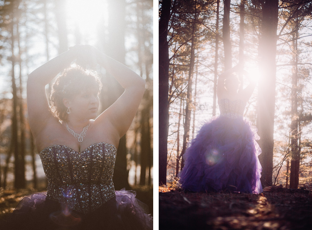 Girl in purple prom dress standing in the woods during golden hour at sunset during her prom lifestyle photography session.