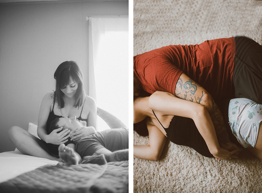 Expecting couple looks at each other with head in lap, and holds each other on the floor during their maternity lifestyle photography session.