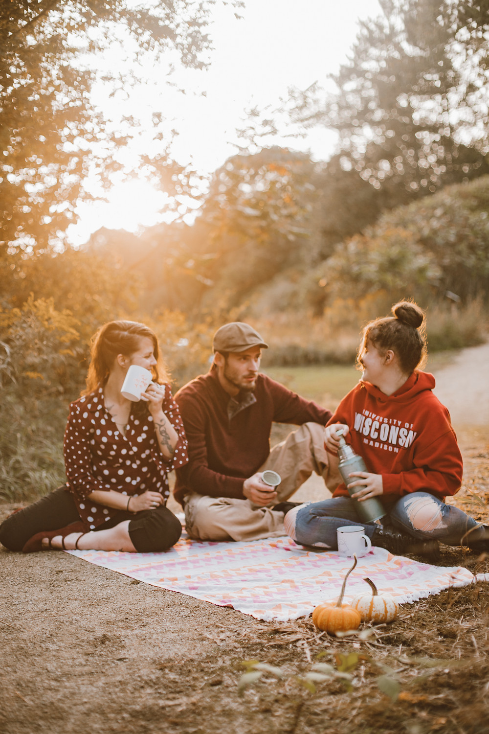 Cozy, coffee filled family lifestyle fall mini session at Swan Park in Waupaca, WI.
